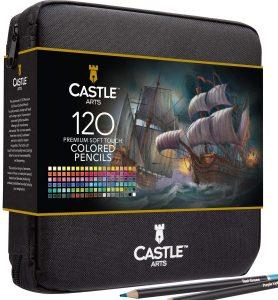Estuche con cremallera de lápices de colores de Castle Art Supplies de 120 - Los mejores estuches de lápices de colores que comprar por internet - Mejores lápices de colores online