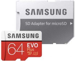 Tarjeta de memoria de Samsung microSDXC con adaptador SD - Las mejores tarjetas de memoria para cámaras fotográficas que comprar en internet - Tarjeta de memoria para cámaras online
