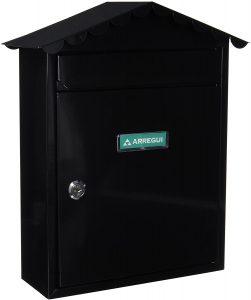 Buzón de correos de exterior de acero de Arregui negro con tejado - Los mejores buzones de correos que comprar por internet - Mejores buzones de exterior del mercado