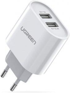 Cargador USB de Pared con 2 Puertos Cargador UGREEN - Los mejores caragadores USB de pared que comprar por internet - Comprar el mejor cargador USB