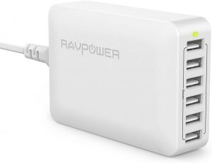 Cargador USB de Pared con 6 Puertos Cargador Ravpower - Los mejores caragadores USB de pared que comprar por internet - Comprar el mejor cargador USB