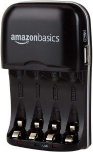 Cargador de pilas de Ni-MH AA y AAA de AmazonBasics con USB - Los mejores cargadores de pilas que comprar por internet - Mejor cargador de pilas del mercado