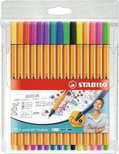 Estuche de rotuladores de punta fina de colores de Stabilo de 15 unidades - Los mejores estuches de rotuladores de colores que comprar por internet - Mejores rotuladores de colores online