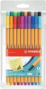 Estuche de rotuladores de punta fina de colores de Stabilo de 20 unidades - Los mejores estuches de rotuladores de colores que comprar por internet - Mejores rotuladores de colores online