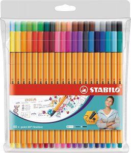 Estuche de rotuladores de punta fina de colores de Stabilo de 40 unidades - Los mejores estuches de rotuladores de colores que comprar por internet - Mejores rotuladores de colores online