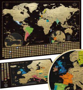 Mapa mundi rascable del mundo de Wanderlust y mapa de Europa - Los mejores Mapa Mundi para rascar que comprar por internet - Mejor mapamundi rascable del mercado