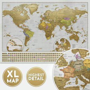Mapa mundi rascable del mundo de Wanderlust y mapa de Europa XXL - Los mejores Mapa Mundi para rascar que comprar por internet - Mejor mapamundi rascable del mercado