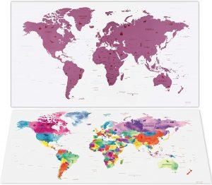 Mapa mundi rascable del mundo de acuarela envami - Los mejores Mapa Mundi para rascar que comprar por internet - Mejor mapamundi rascable del mercado
