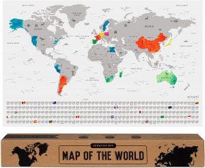 Mapa mundi rascable del mundo de plata envami - Los mejores Mapa Mundi para rascar que comprar por internet - Mejor mapamundi rascable del mercado