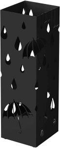 Paragüero Cuadrado Songmics con gotas de agua negro - Los mejores paragüeros que comprar por internet - Mejores paragüeros del mercado